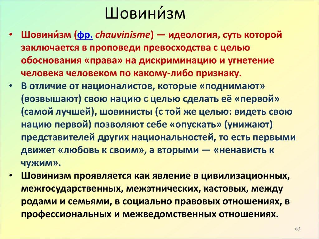 Шовинизм - это… кто такой шовинист и что значит мужской шовинизм