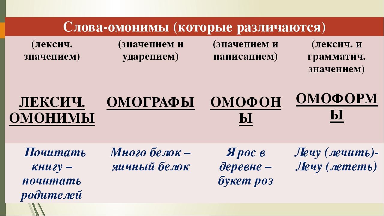 Омонимы – это… 50 примеров омонимов