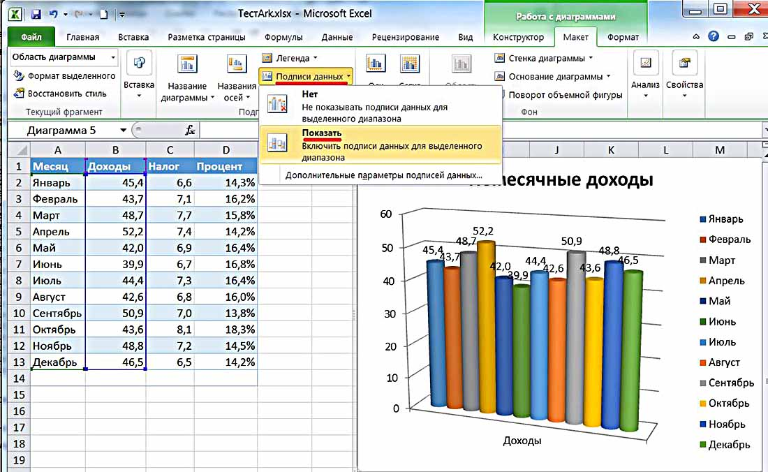 Изменение параметров диаграмм - р7-офис