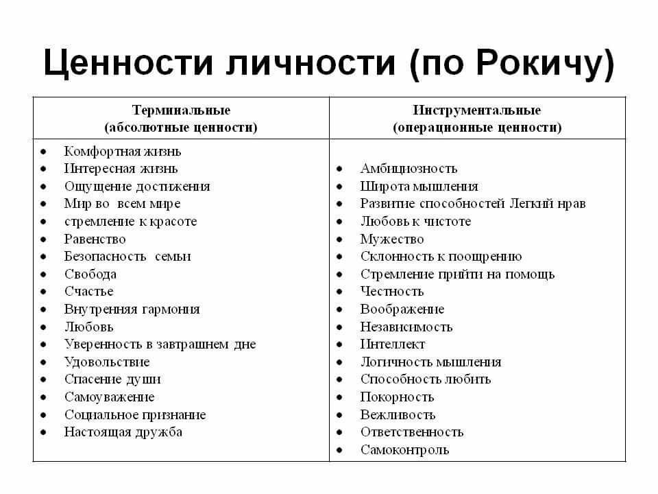 Общая характеристика ценностей человека, их роль и место в структуре личности