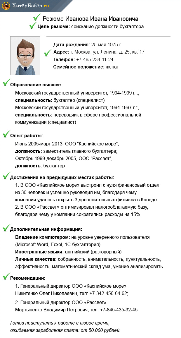 Пример резюме