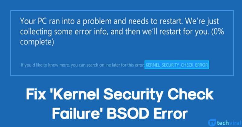 Что делать при появлении ошибки kernel security check failure в windows 10