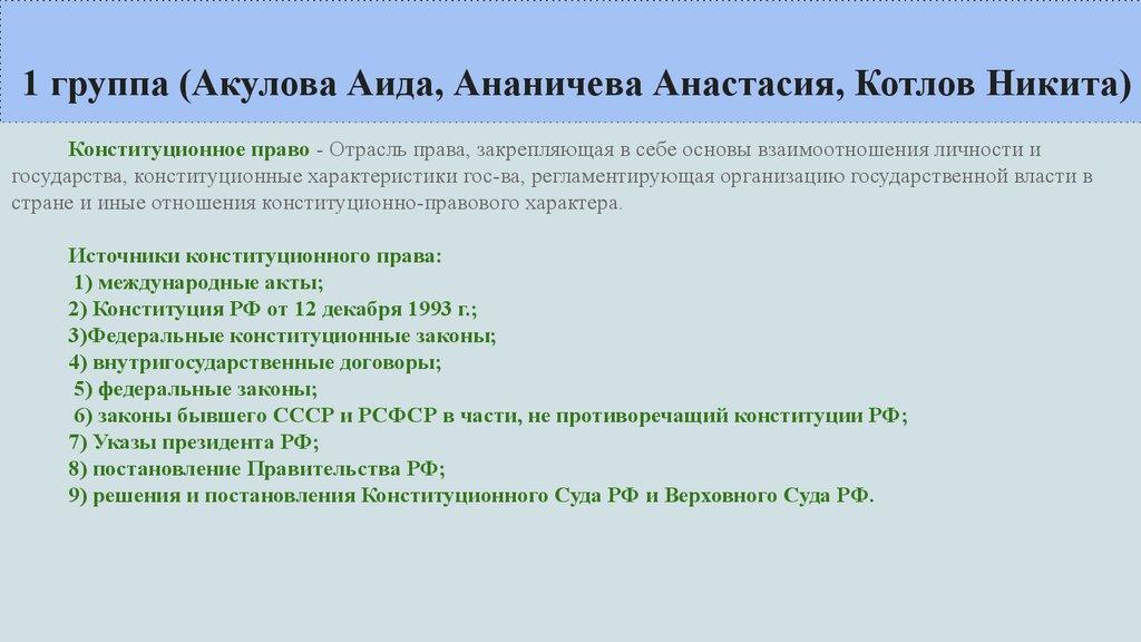 Что такое конституционное право россии? :: syl.ru
