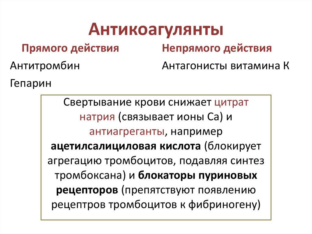 Антикоагулянты прямого действия — sportwiki энциклопедия