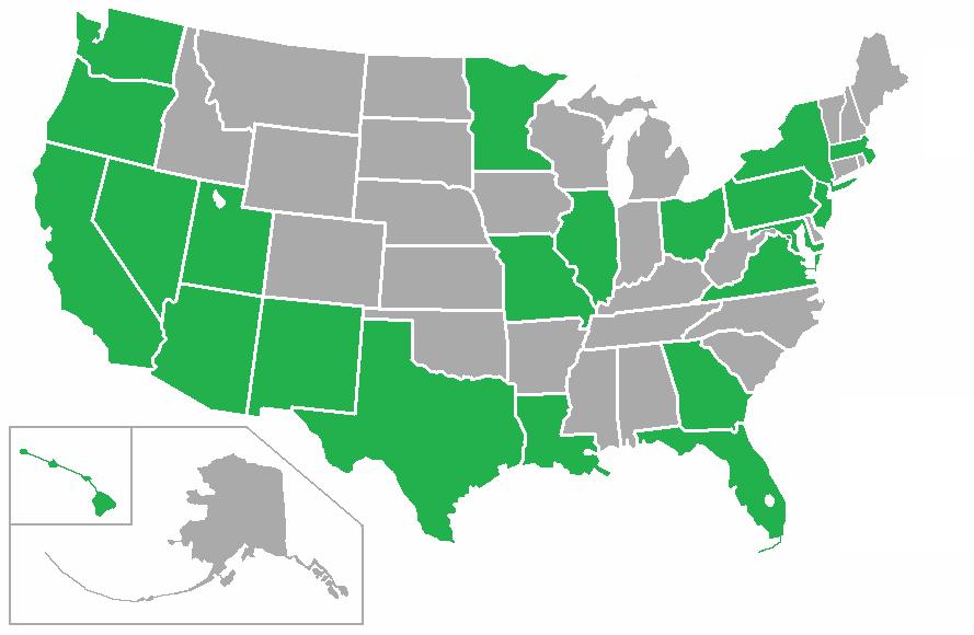 Список штатов сша с их столицами на русском и английском