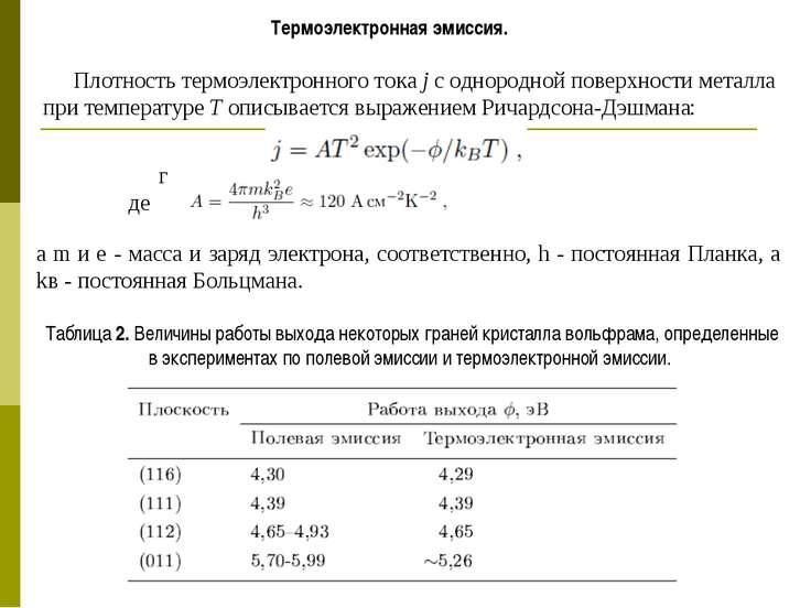 Термоэлектронная эмиссия. реальная физика. глоссарий по физике