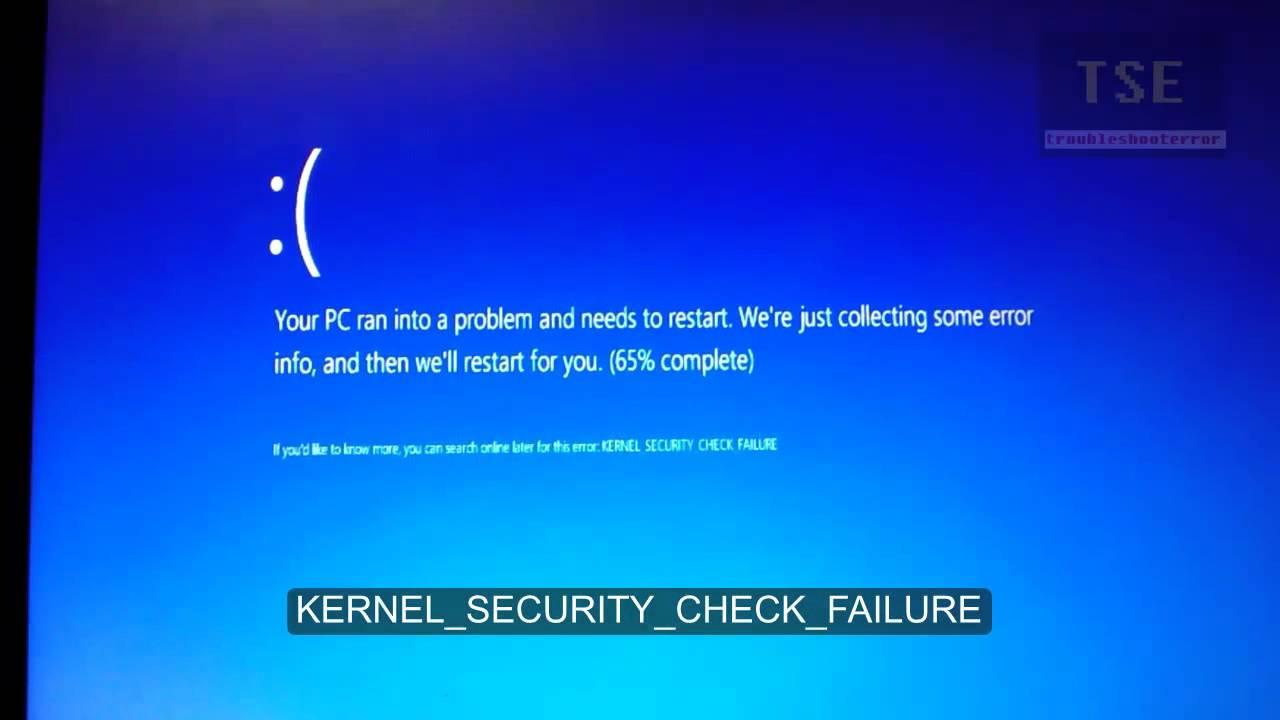 Исправить ошибку kernel security check failure в windows 10