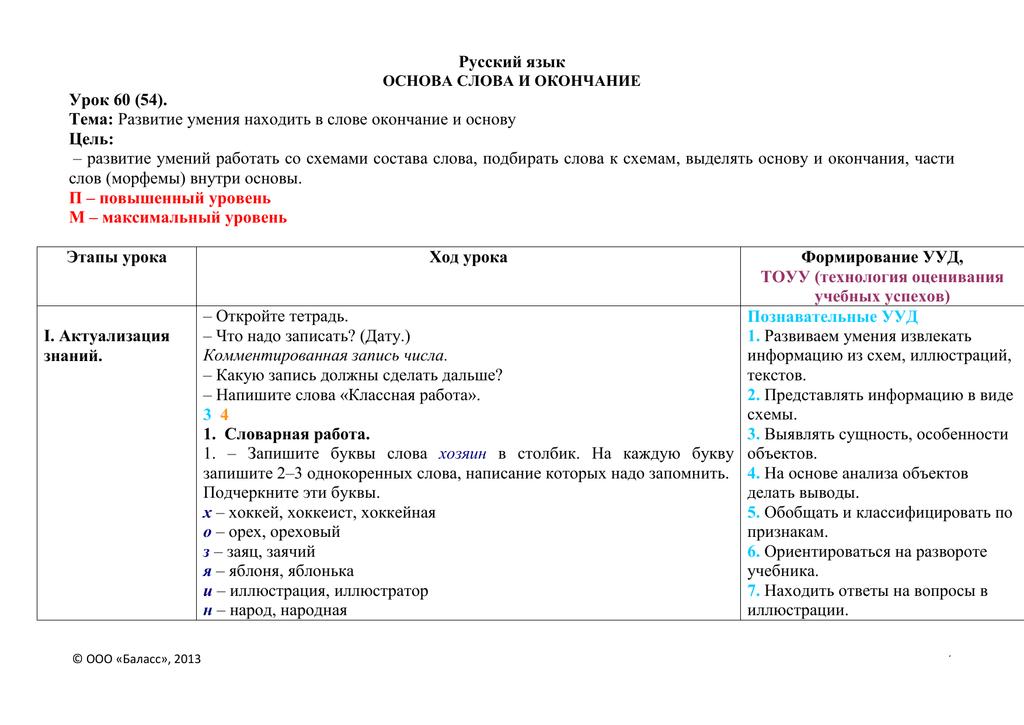 3 класс. русский язык. разбор слова по составу