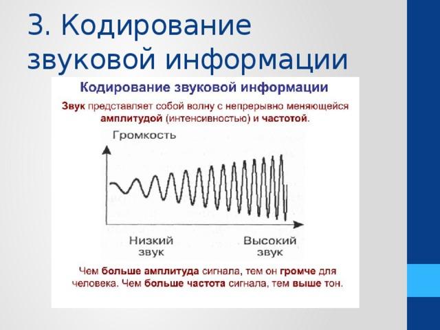 """Презентация на тему: """"тема: кодирование звуковой информации. цель: 1.определить что такое звук и его основные характеристики. 2.рассмотреть кодирование звуковой информации."""". скачать бесплатно и без регистрации."""