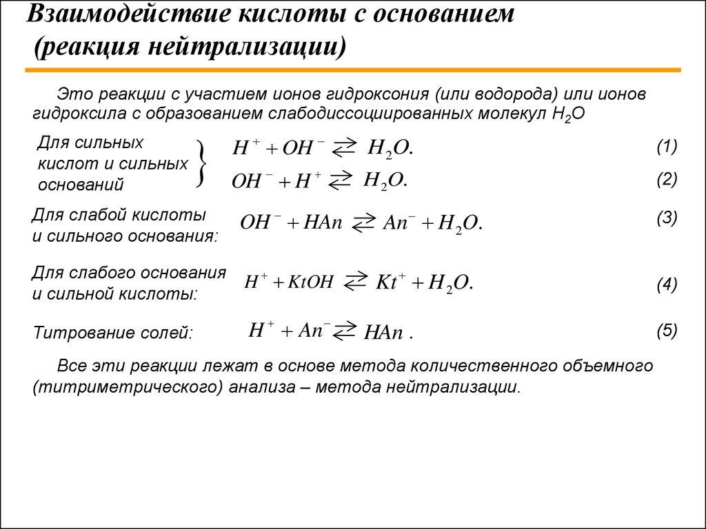 Реакция нейтрализации: определение, примеры, применение :: syl.ru