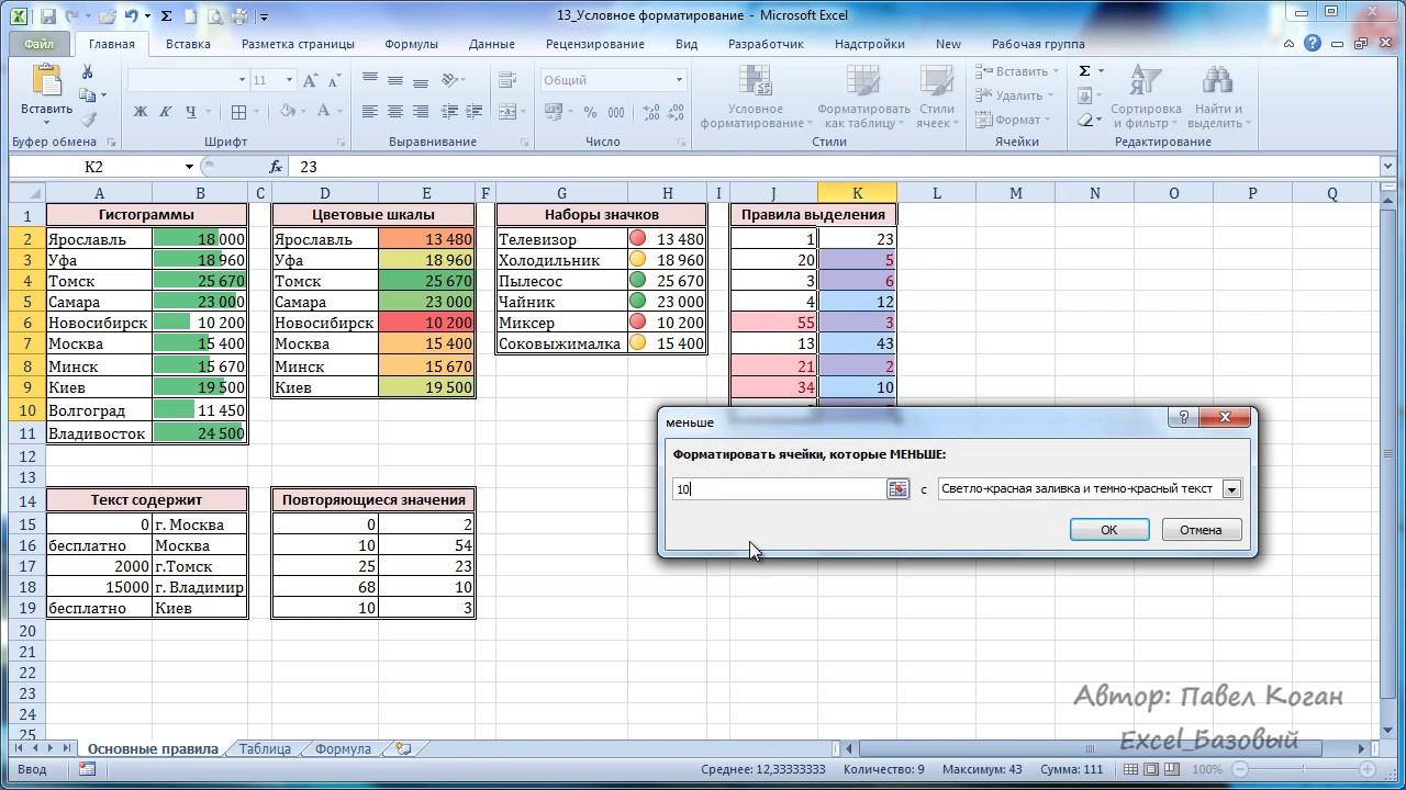 Условное форматирование в excel. примеры, цветовая шкала, наборы значков