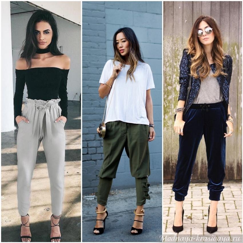 С чем носить женские джоггеры - фото модных штанов с карманами