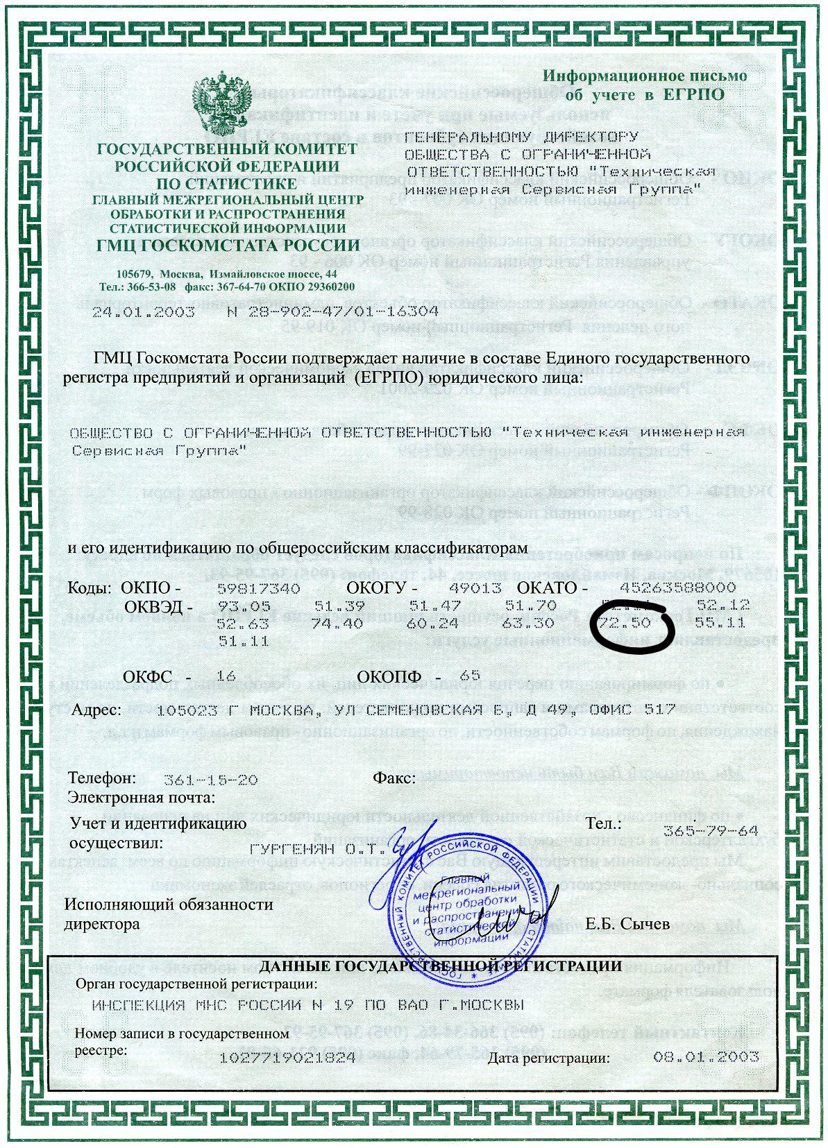 Информационное письмо о включении организации в егрпо. егрпо и государственная статистика - ponp-urid