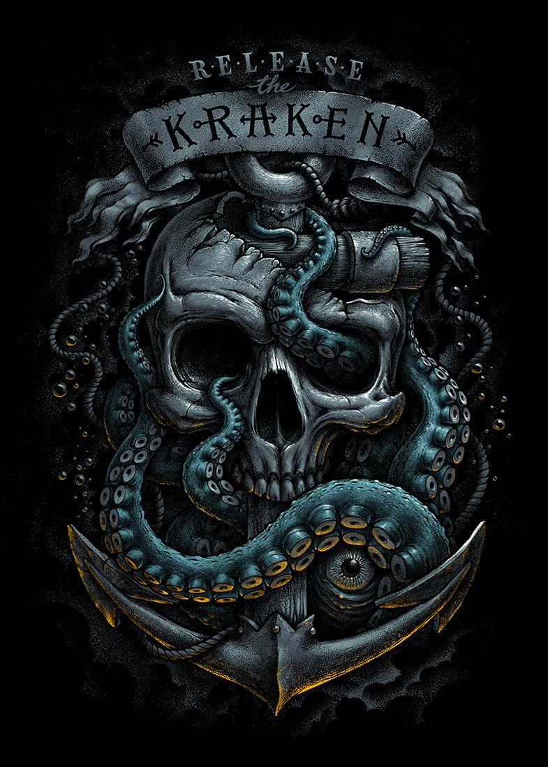Кракен — гигантский кальмар, разрушающий корабли