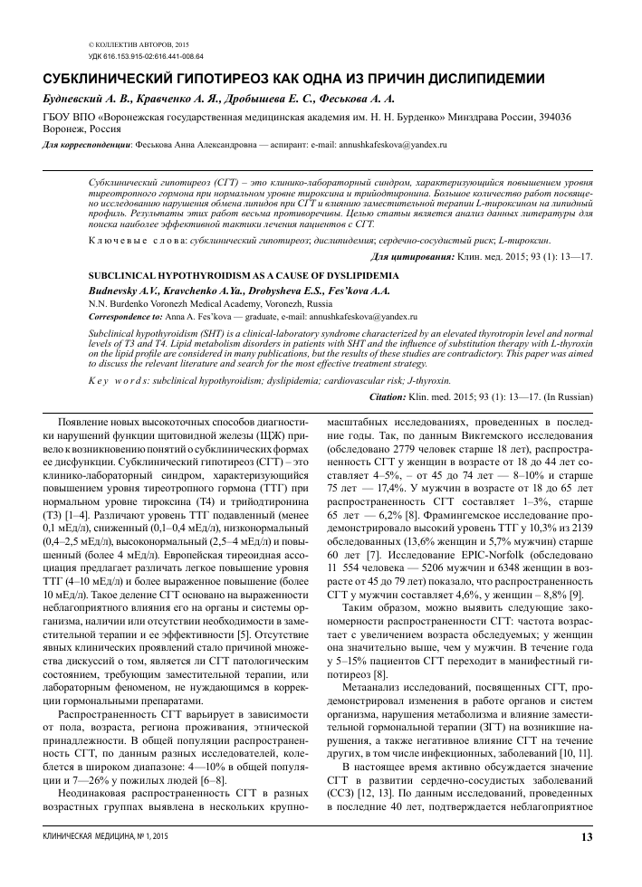 Причины и прогноз первичного гипотиреоза