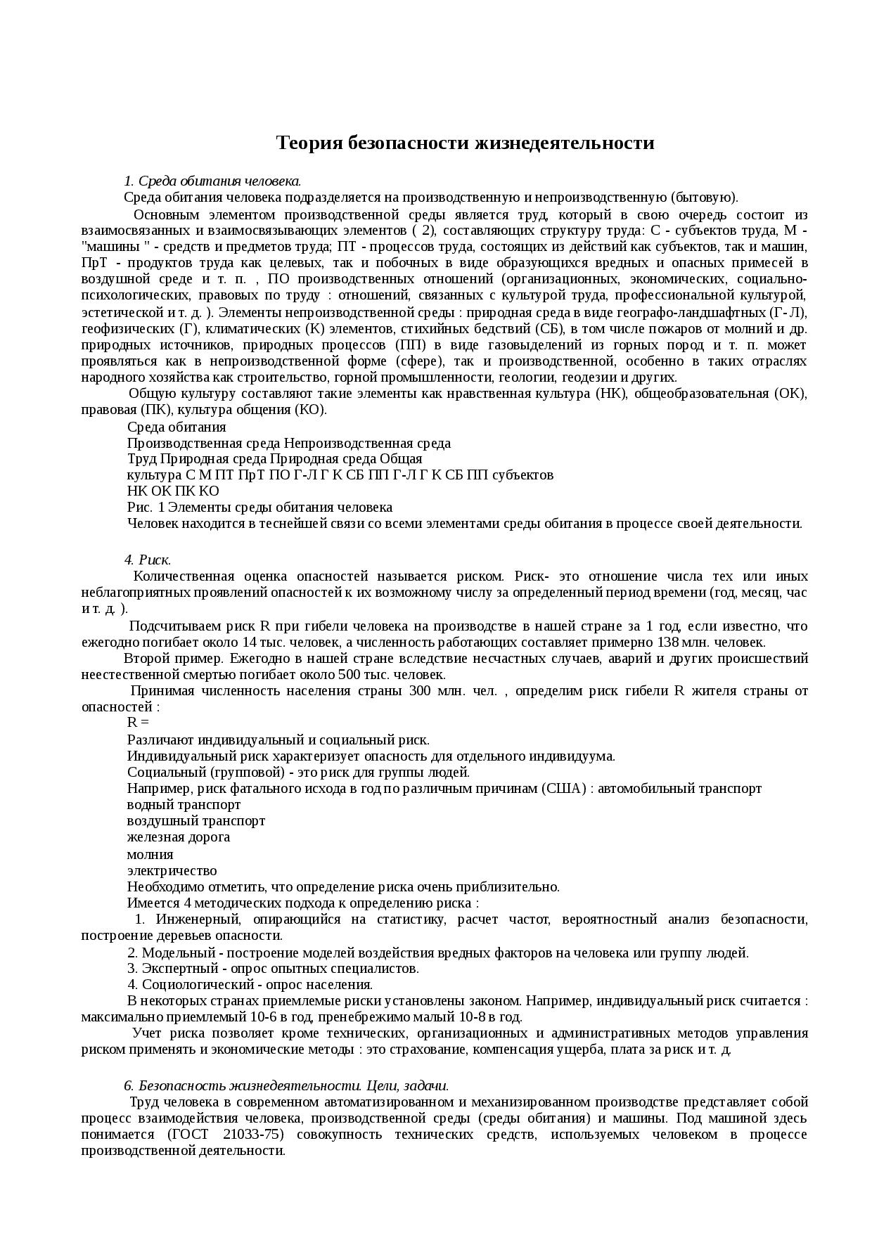 Структура техносферы и ее компонентов