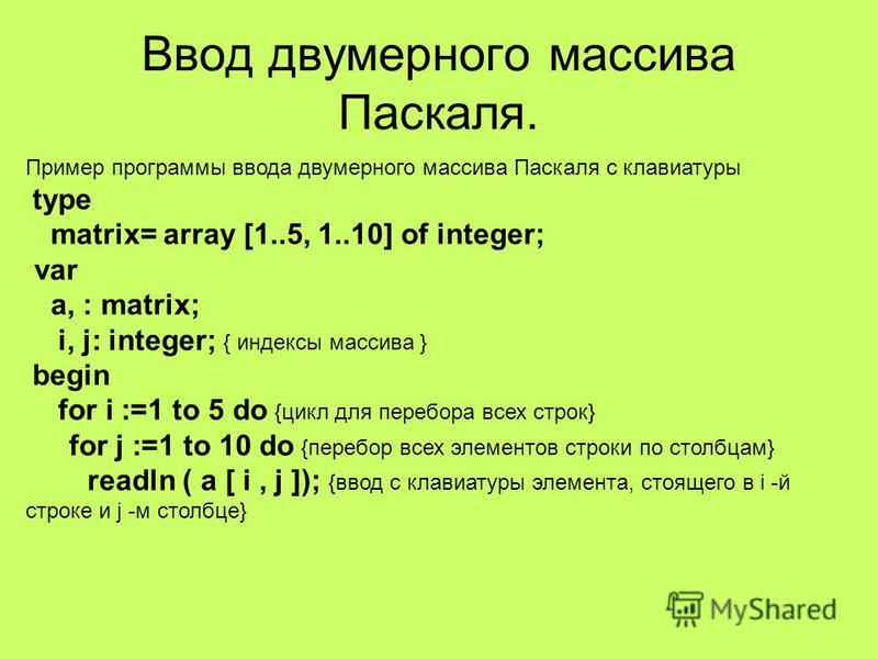 Что такое индекс в одномерном массиве