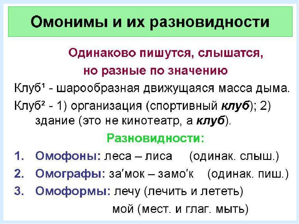 Отличие многозначных слов от омонимов