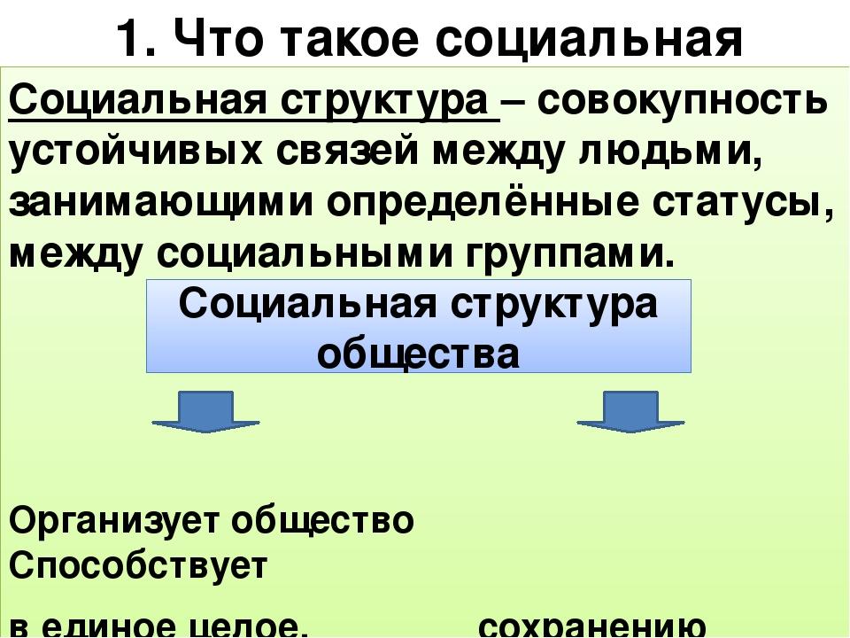 Социальная структура общества, что включает, место человека и другие элементы
