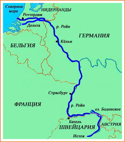 Река рейн на карте: где протекает, город вормс