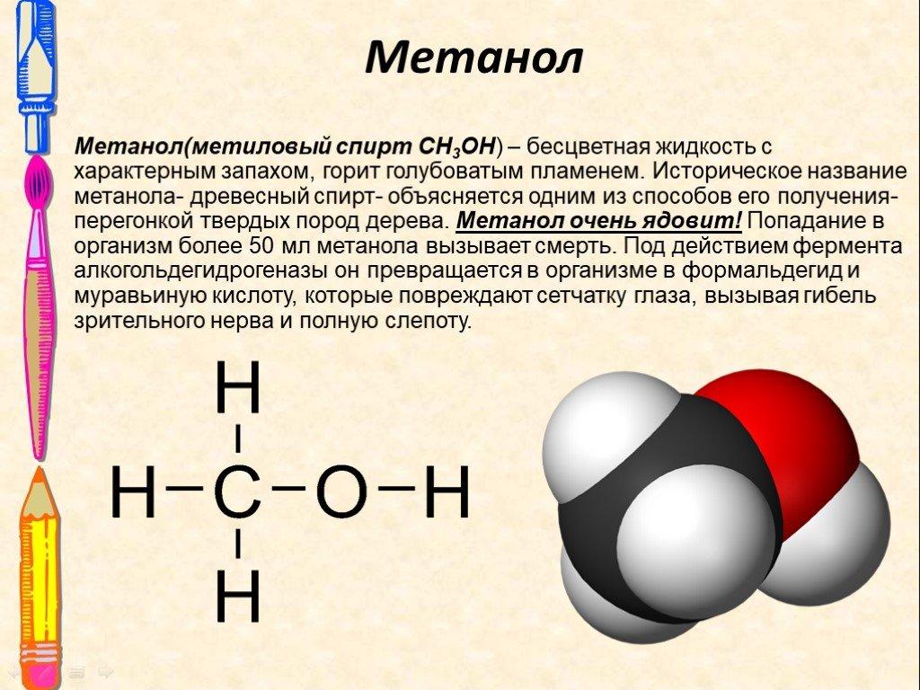 Описание продукта - спирт метиловый (метанол)