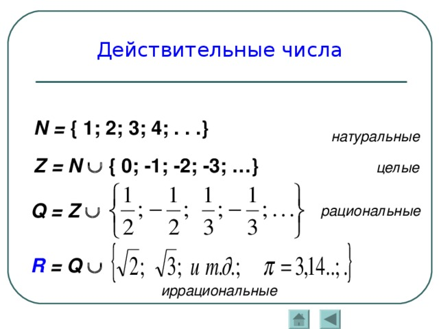 Действительные числа, определение, примеры.
