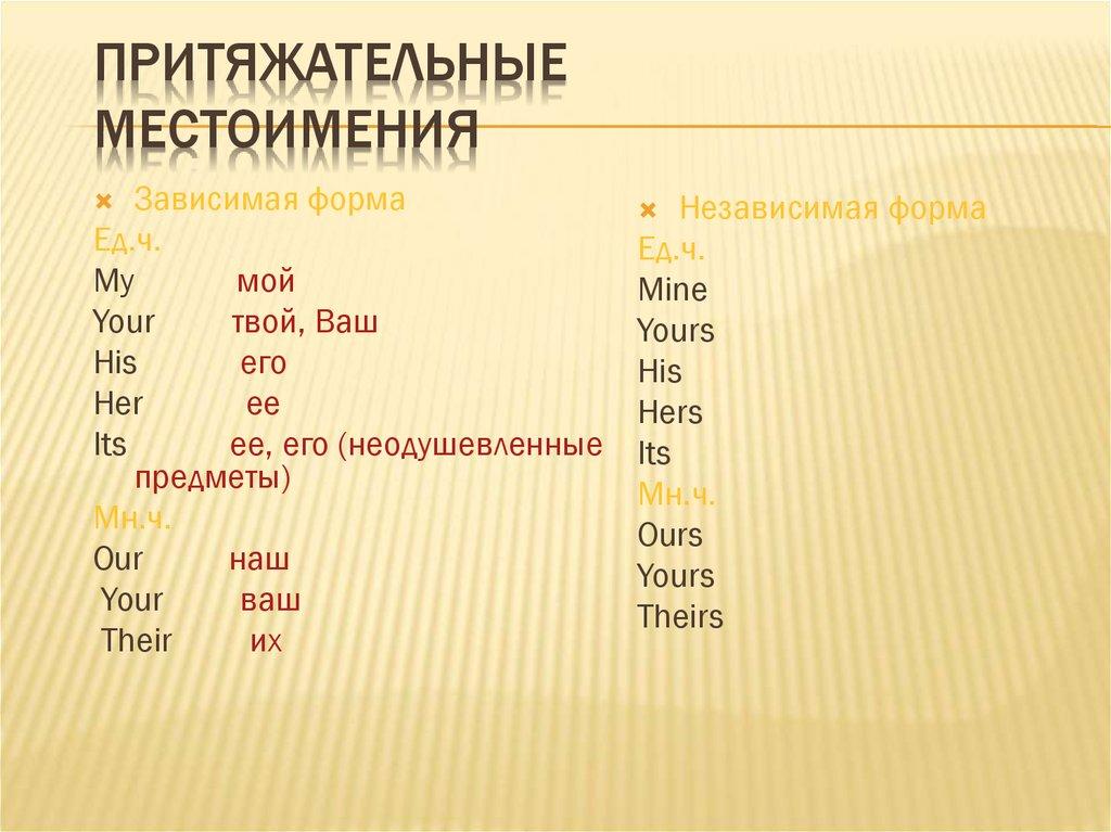 Притяжательные местоимения (possessive pronouns): таблица и особенности употребления в речи, правила постановки в предложении, примеры фраз с переводом