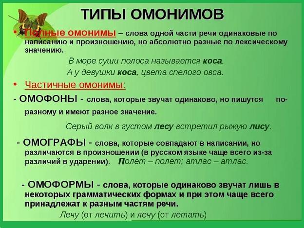 Слова омофоны: примеры в предложениях в русском или английском языке и как подобрать проверочные слова, их этимология и ударение