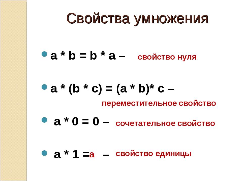 Умножение или произведение натуральных чисел, их свойства.