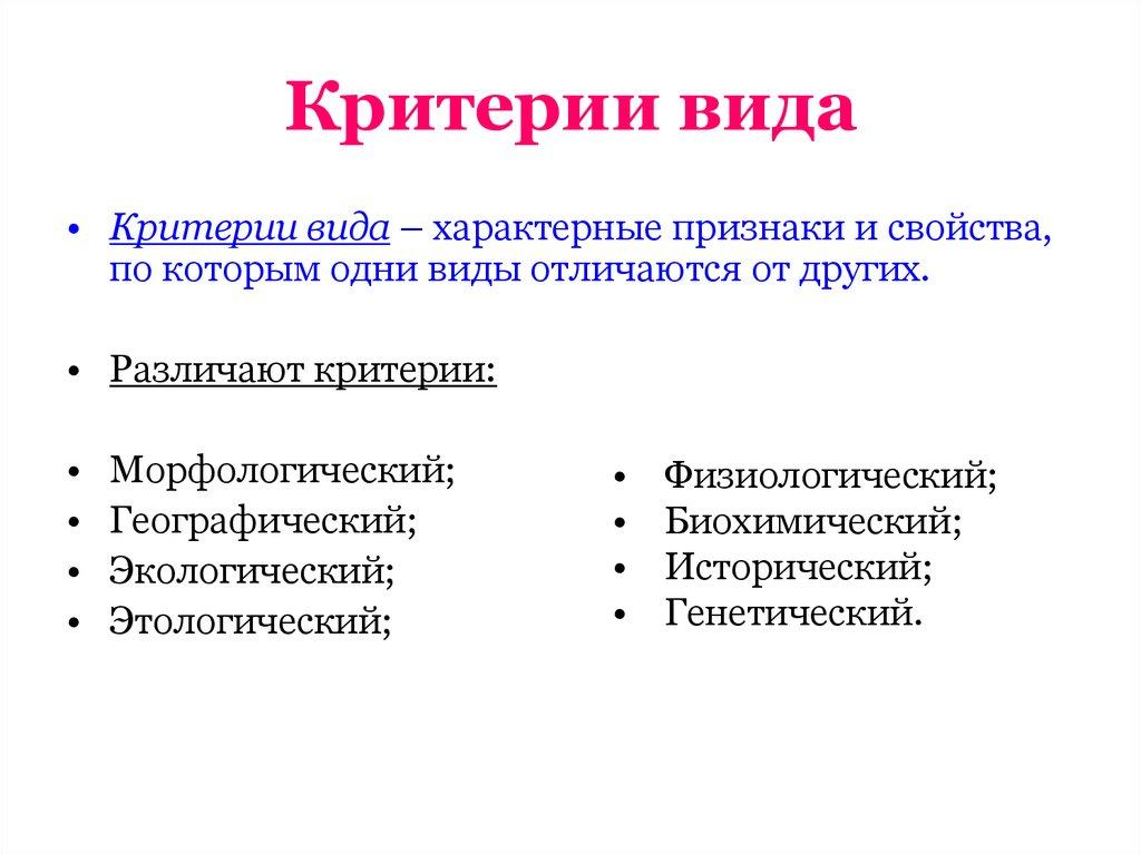 Понятие вида. критерии вида