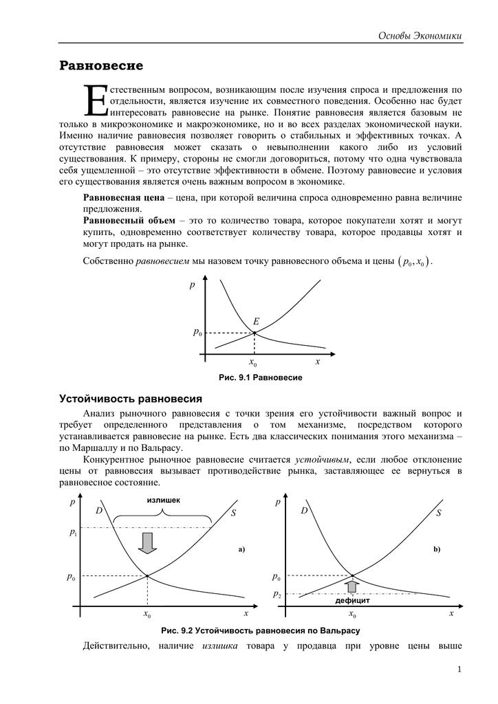Рыночное равновесие. механизм установления равновесной цены
