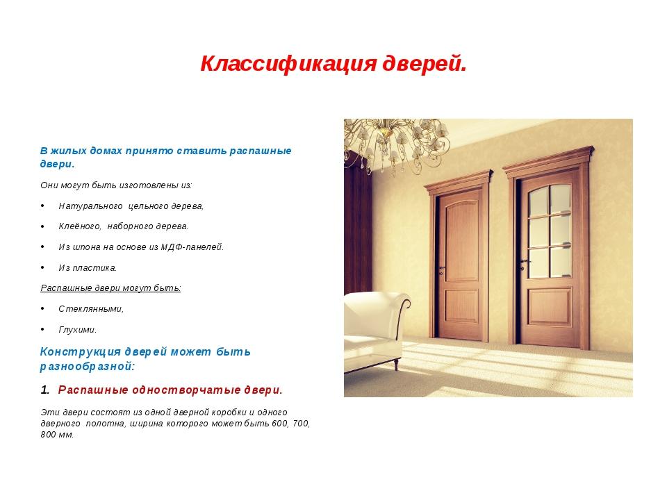 Классификация и виды современных дверей
