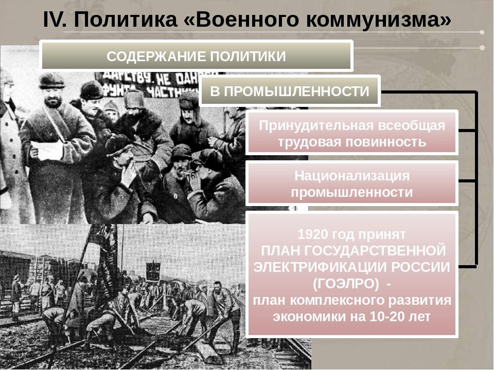 Политика военного коммунизма кратко