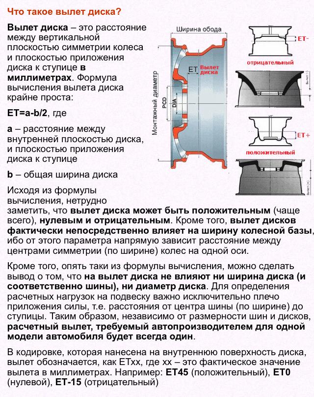 Вылет диска et: формула расчета, маркировка, допустимые отклонения