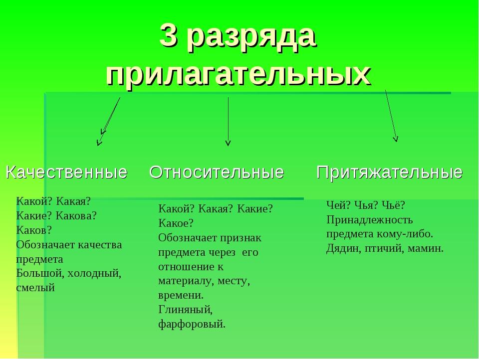 Качественные прилагательные. примеры