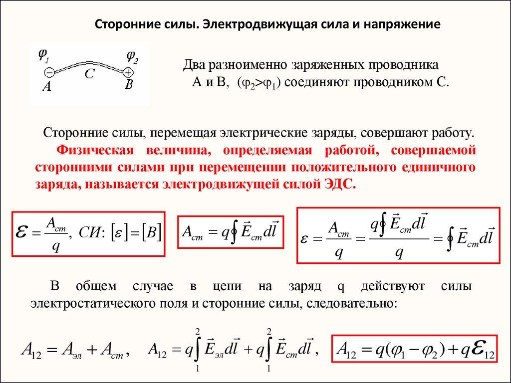 2.2. сторонние силы. электродвижущая сила и напряжение