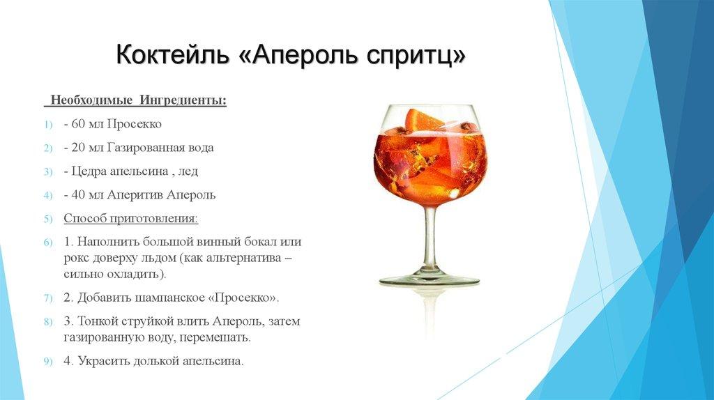 Коктейль апероль шприц: рецепты для приготовления в домашних условиях