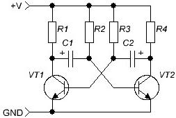 Принцип работы мультивибратора на транзисторах