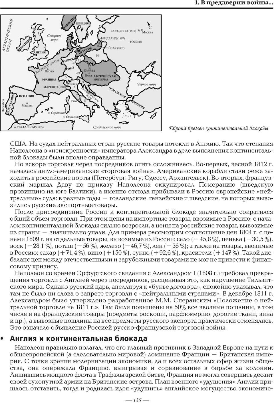 Континентальная блокада и участие в ней россии