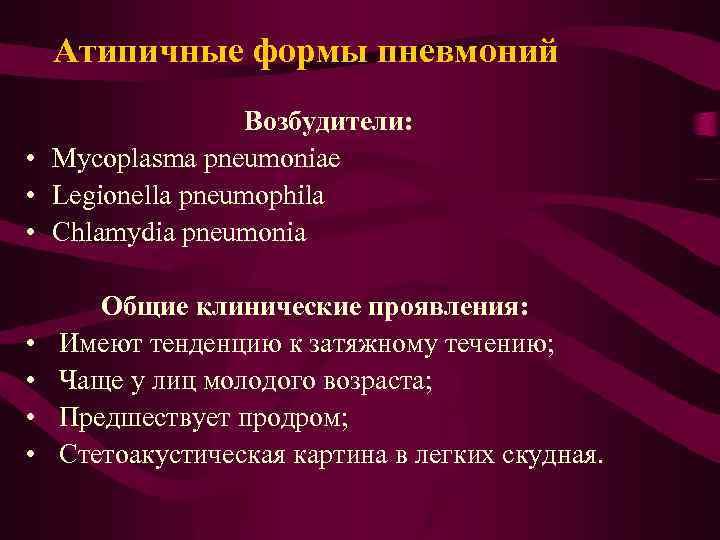 Атипичная пневмония: главные причины, симптомы, клиническая картина, диагностические мероприятия, лечение заболевания, медикаментозная терапия