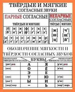 Мягкие согласные буквы в русском языке – правило и примеры звуков в таблице (1 класс)