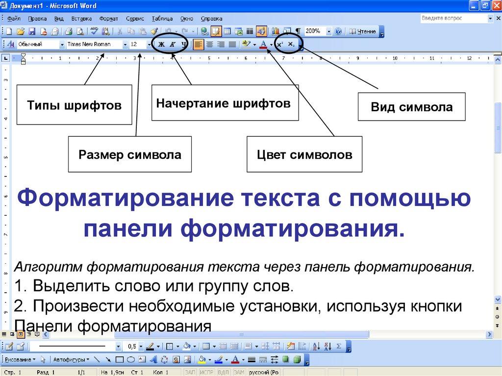 Форматирование текста – действия, возможности, кнопки (7 класс, информатика)