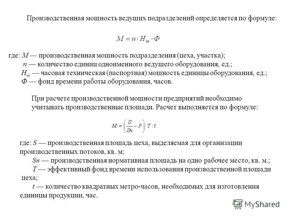 Тема 7. производственная мощность предприятия