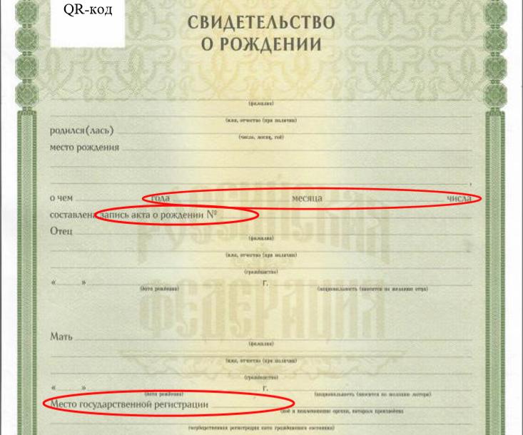 Номер акта записи в свидетельстве о рождении ребёнка