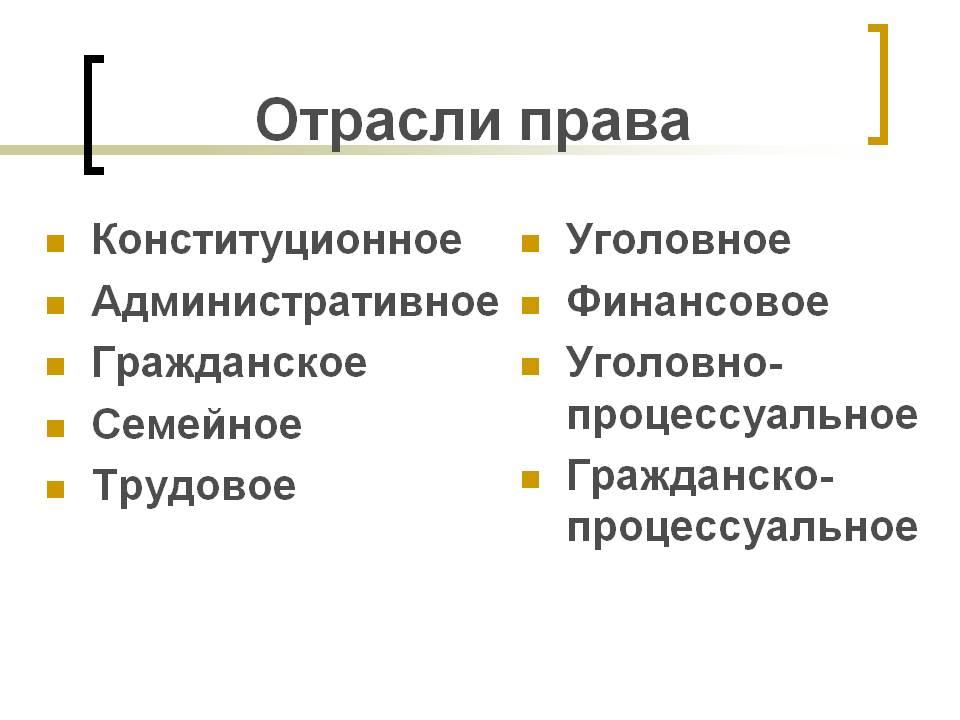Понятие и особенности отраслей российского права