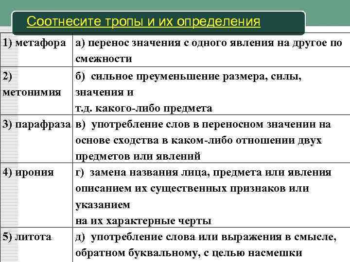 Тропы в русском языке. таблица с примерами