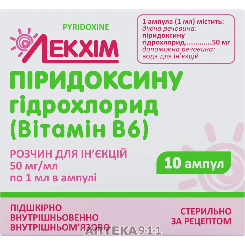 Показания к применению препаратов витамина в6 (он же пиридоксина гидрохлорид)