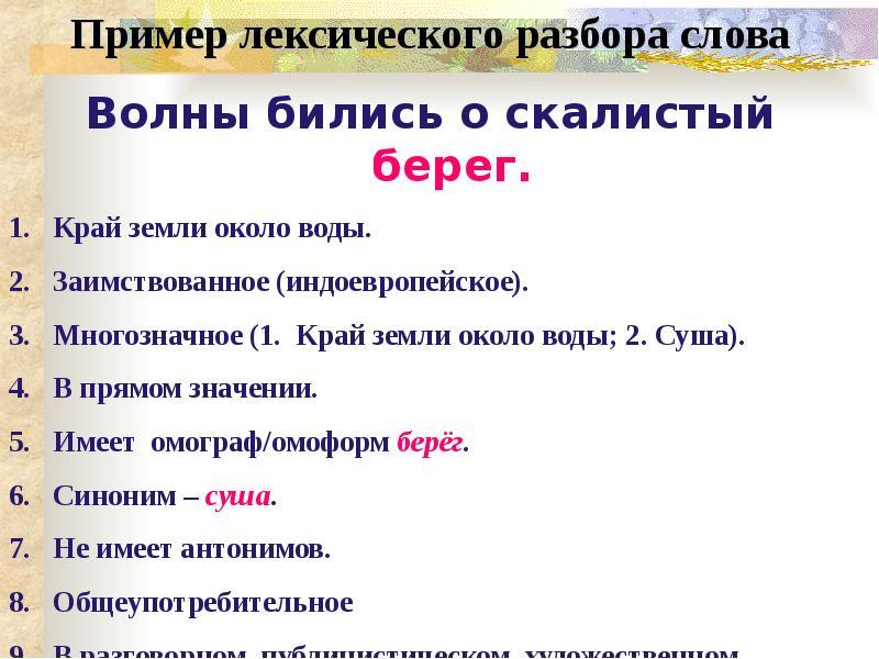 К  урокам  русского языка и литературы: лексический разбор слова