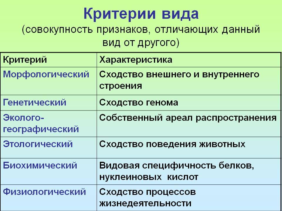 Критерии вида – морфологический, экологический, физиологический (биология, 11 класс)