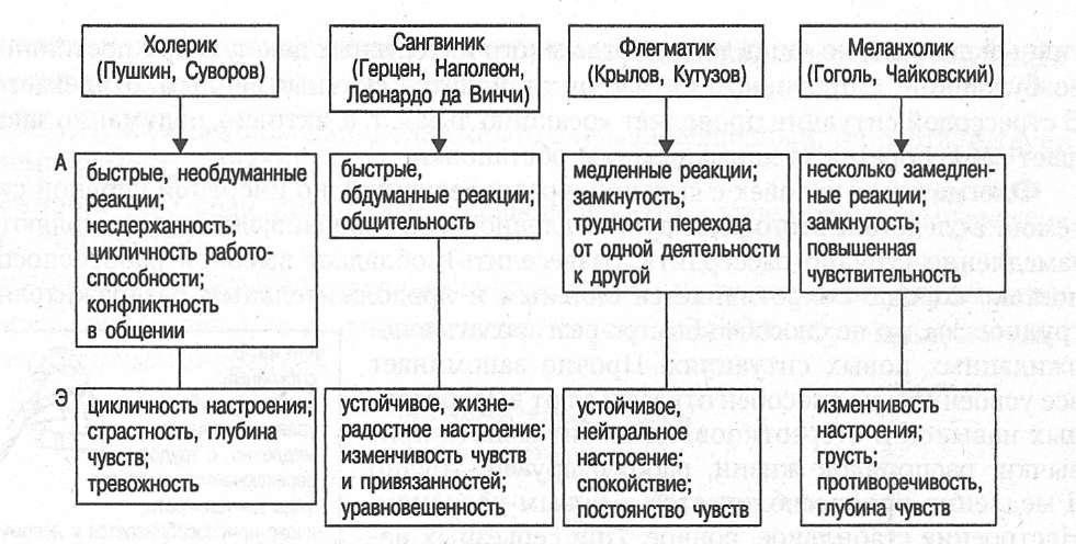 Типы темперамента: холерик, сангвиник, флегматик, меланхолик